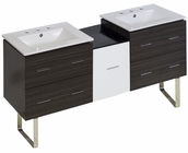 American Imaginations 61.5-in. W Floor Mount White-Dawn Grey Vanity Set For 3H8-in. Drilling