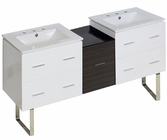 61.5-in. W Floor Mount White-Dawn Grey Vanity Set For 3H8-in. Drilling