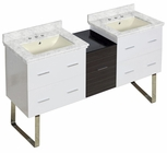 61.5-in. W Floor Mount White-Dawn Grey Vanity Set For 3H8-in. Drilling Bianca Carara Top Biscuit UM Sink