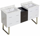 61.5-in. W Floor Mount White-Dawn Grey Vanity Set For 3H8-in. Drilling Bianca Carara Top White UM Sink