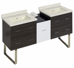 61.5-in. W Floor Mount White-Dawn Grey Vanity Set For 3H8-in. Drilling Biscuit UM Sink