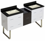 61.5-in. W Floor Mount White-Dawn Grey Vanity Set For 3H8-in. Drilling Black Galaxy Top Biscuit UM Sink