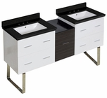 61.5-in. W Floor Mount White-Dawn Grey Vanity Set For 3H8-in. Drilling Black Galaxy Top White UM Sink