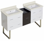 61.5-in. W Floor Mount White-Dawn Grey Vanity Set For 3H8-in. Drilling White UM Sink