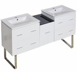 61.5-in. W Floor Mount White Vanity Set For 1 Hole Drilling