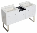 61.5-in. W Floor Mount White Vanity Set For 1 Hole Drilling Bianca Carara Top Biscuit UM Sink