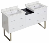 American Imaginations 61.5-in. W Floor Mount White Vanity Set For 1 Hole Drilling Bianca Carara Top White UM Sink