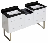 61.5-in. W Floor Mount White Vanity Set For 1 Hole Drilling Black Galaxy Top White UM Sink