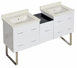 American Imaginations 61.5-in. W Floor Mount White Vanity Set For 3H4-in. Drilling Biscuit UM Sink