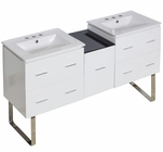 American Imaginations 61.5-in. W Floor Mount White Vanity Set For 3H8-in. Drilling