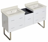 American Imaginations 61.5-in. W Floor Mount White Vanity Set For 3H8-in. Drilling Biscuit UM Sink