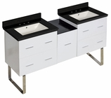 61.5-in. W Floor Mount White Vanity Set For 3H8-in. Drilling Black Galaxy Top Biscuit UM Sink