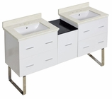 61.5-in. W Floor Mount White Vanity Set For 3H8-in. Drilling White UM Sink