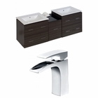 American Imaginations 61.5-in. W Wall Mount Dawn Grey Vanity Set For 1 Hole Drilling
