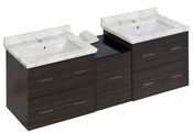 American Imaginations 61.5-in. W Wall Mount Dawn Grey Vanity Set For 1 Hole Drilling Bianca Carara Top White UM Sink