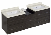 American Imaginations 61.5-in. W Wall Mount Dawn Grey Vanity Set For 1 Hole Drilling White UM Sink