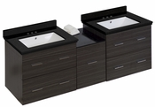 American Imaginations 61.5-in. W Wall Mount Dawn Grey Vanity Set For 3H4-in. Drilling Black Galaxy Top White UM Sink