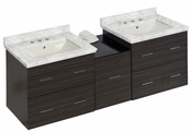 American Imaginations 61.5-in. W Wall Mount Dawn Grey Vanity Set For 3H8-in. Drilling Bianca Carara Top Biscuit UM Sink