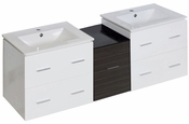 61.5-in. W Wall Mount White-Dawn Grey Vanity Set For 1 Hole Drilling
