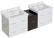 American Imaginations 61.5-in. W Wall Mount White-Dawn Grey Vanity Set For 1 Hole Drilling Bianca Carara Top White UM Sink