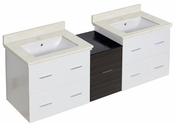 61.5-in. W Wall Mount White-Dawn Grey Vanity Set For 1 Hole Drilling White UM Sink