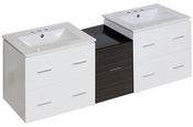 61.5-in. W Wall Mount White-Dawn Grey Vanity Set For 3H4-in. Drilling