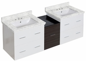 American Imaginations 61.5-in. W Wall Mount White-Dawn Grey Vanity Set For 3H4-in. Drilling Bianca Carara Top White UM Sink