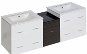61.5-in. W Wall Mount White-Dawn Grey Vanity Set For 3H8-in. Drilling