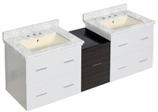 61.5-in. W Wall Mount White-Dawn Grey Vanity Set For 3H8-in. Drilling Bianca Carara Top Biscuit UM Sink