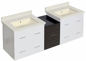 61.5-in. W Wall Mount White-Dawn Grey Vanity Set For 3H8-in. Drilling Biscuit UM Sink