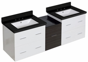 American Imaginations 61.5-in. W Wall Mount White-Dawn Grey Vanity Set For 3H8-in. Drilling Black Galaxy Top White UM Sink