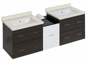 American Imaginations 61.5-in. W Wall Mount White-Dawn Grey Vanity Set For 3H8-in. Drilling White UM Sink