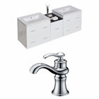 61.5-in. W Wall Mount White Vanity Set For 1 Hole Drilling