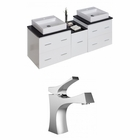 American Imaginations 61.5-in. W Wall Mount White Vanity Set For 1 Hole Drilling
