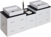 American Imaginations 61.5-in. W Wall Mount White Vanity Set For 1 Hole Drilling Black Galaxy Top