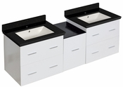 61.5-in. W Wall Mount White Vanity Set For 1 Hole Drilling Black Galaxy Top Biscuit UM Sink