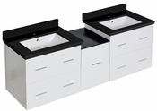 61.5-in. W Wall Mount White Vanity Set For 1 Hole Drilling Black Galaxy Top White UM Sink