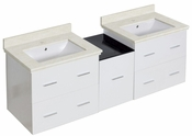 61.5-in. W Wall Mount White Vanity Set For 1 Hole Drilling White UM Sink