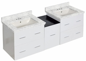 American Imaginations 61.5-in. W Wall Mount White Vanity Set For 3H4-in. Drilling Bianca Carara Top Biscuit UM Sink