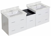 American Imaginations 61.5-in. W Wall Mount White Vanity Set For 3H4-in. Drilling Bianca Carara Top White UM Sink