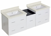 American Imaginations 61.5-in. W Wall Mount White Vanity Set For 3H8-in. Drilling White UM Sink