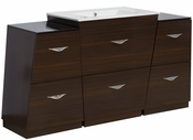 American Imaginations 61.75-in. W Floor Mount Wenge Vanity Set For 3H4-in. Drilling
