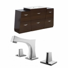 American Imaginations 61.75-in. W Floor Mount Wenge Vanity Set For 3H8-in. Drilling