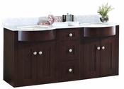 American Imaginations 61.8-in. W Wall Mount Coffee Vanity Set For 3H8-in. Drilling Bianca Carara Top Biscuit UM Sink