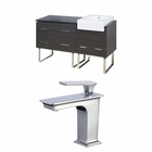 American Imaginations 61-in. W Floor Mount Dawn Grey Vanity Set For 1 Hole Drilling