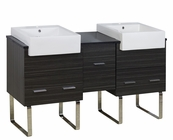American Imaginations 62-in. W Floor Mount Dawn Grey Vanity Set For 1 Hole Drilling Black Galaxy Top