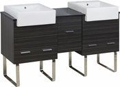 62-in. W Floor Mount Dawn Grey Vanity Set For 3H4-in. Drilling Black Galaxy Top