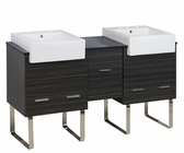 American Imaginations 62-in. W Floor Mount Dawn Grey Vanity Set For 3H8-in. Drilling Black Galaxy Top