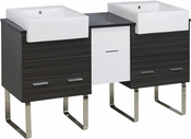 62-in. W Floor Mount White-Dawn Grey Vanity Set For 3H4-in. Drilling Black Galaxy Top