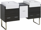 American Imaginations 62-in. W Floor Mount White-Dawn Grey Vanity Set For 3H4-in. Drilling Black Galaxy Top
